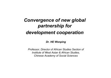 Convergence of new global partnership for development cooperation