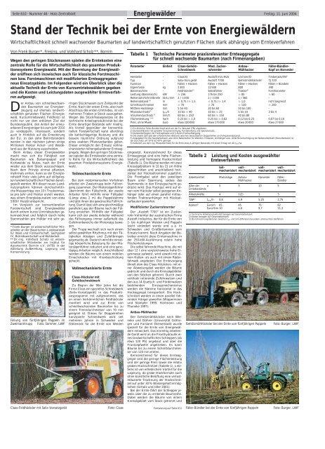 Stand der Technik bei der Ernte von Energiewäldern