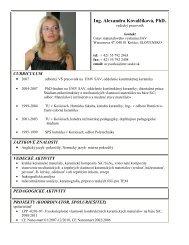 Ing. Alexandra Kovalčíková, PhD. - Ústav materiálového výskumu SAV