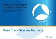 SHARKFEST'10 ABSTRACTS & BIOS BASIC TRACK 050410