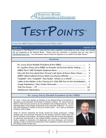 TESTPOINTSTM - National Board of Examiners in Optometry