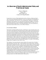 An Overview of Bush Administration Policy and ... - PONARS Eurasia