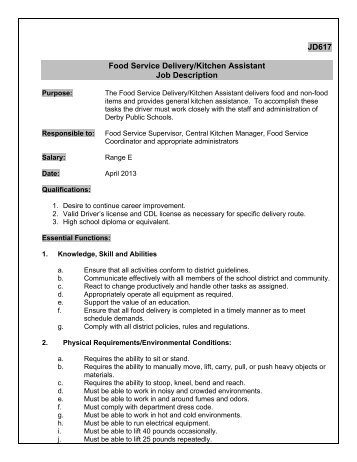Jd Food Service Delivery Driver Job Description  Derby Public