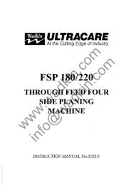 Wadkin FSP Four Sided Planer Manual and Parts List
