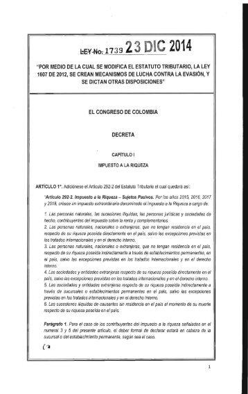 Ley 1739 - Reforma Tributaria