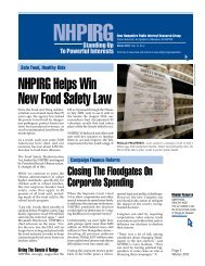 NHPIRG Helps Win New Food Safety Law - Public Interest Network