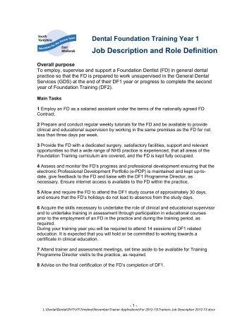 Deputy   General Dentist Job Description