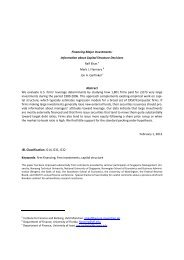 Financing Major Investments: Information about Capital Structure ...