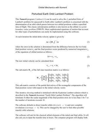Perturbed Earth Orbit Lambert Problem