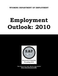 Employment Outlook 2010 - Wyoming Department of Workforce ...