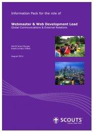 Info Pack - Webmaster & Web Development Lead