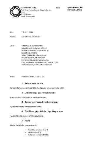 Poytakirja 9.pdf - Kemistikilta