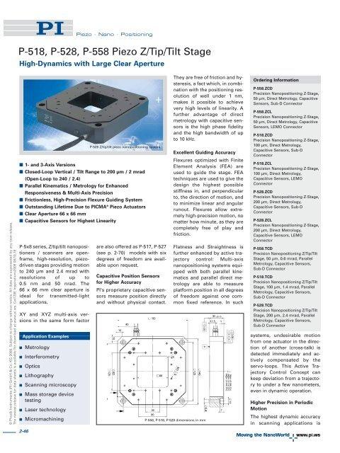 Datasheet 1 - PZT & Piezo Actuators: Sub Nanometer