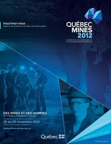 DES MINES ET DES HOMMES 26 au 29 novembre 2012 Inscrivez ...