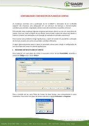 CONTABILIDADE COM MÚLTIPLOS PLANOS DE CONTAS - Siagri