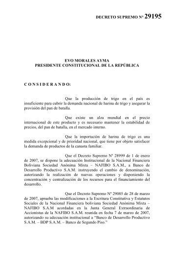 Decreto Supremo N 29195 - Banco de Desarrollo Productivo