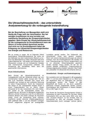 Fachartikel Ultraschall mit Logo - Elektronik-Kontor Messtechnik ...