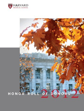 honor roll of donors - Harvard Medical School - Harvard University