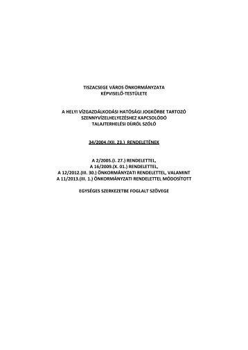 Tiszacsege Város Önkormányzata Képviselő-testülete