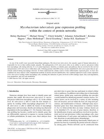 Mycobacterium tuberculosis gene expression profiling ... - UCLA-DOE