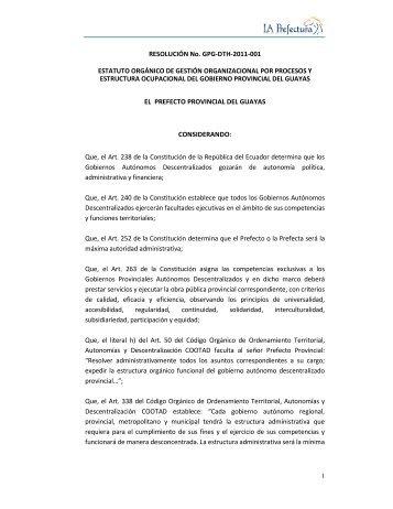 Estatuto Orgánico de Gestión Organizacional por Procesos y ...