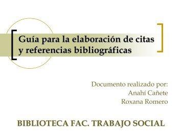 Citas y referencias bibliográficas - Facultad de Trabajo Social