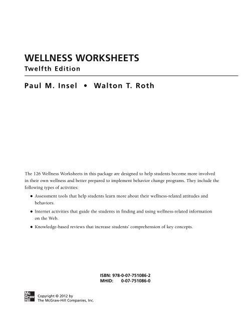 Wellness Worksheets Twelfth Edition Paul Novella Mhhe