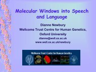 Molecular Windows into Speech and Language - Wellcome Trust ...