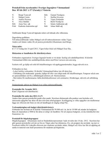 Protokoll från styrelsemöte i Sveriges Ingenjörer Västmanland