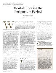 Mental Illness in the Peripartum Period - Zero to Three
