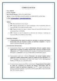 CURRICULUM VITAE - Université de Sidi-Bel-Abbes