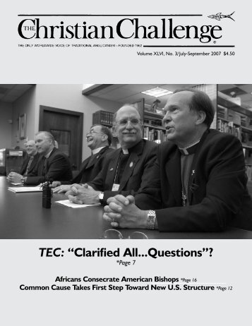 "TEC: ""Clarified All...Questions""? - The Christian Challenge"