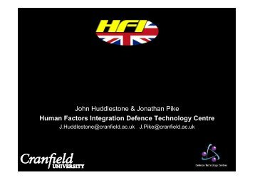 E-Learning - Human Factors Integration Defence Technology Centre ...