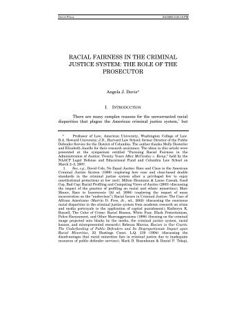 racial fairness in the criminal justice system - Columbia Law School
