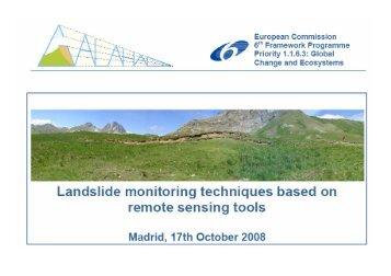 Landslide Monitoring techniques based on remote sensing tools
