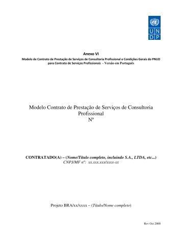 Modelo Contrato de Prestação de Serviços de Consultoria ... - Pnud