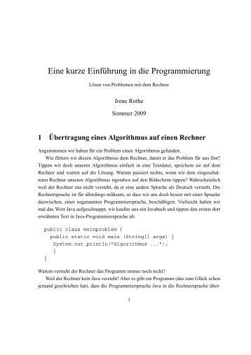 Eine kurze Einf¨uhrung in die Programmierung - Hochschule Bonn ...