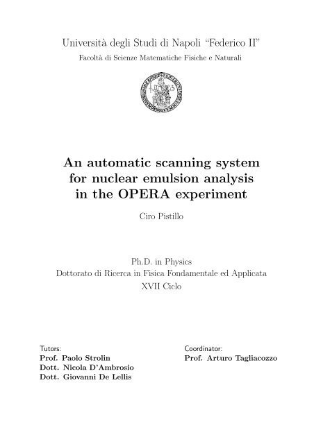 An automatic scanning system for nuclear emulsion ... - opera - Infn