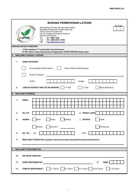 ISO 9001-2008 - Borang Permohonan Latihan 2011 - NRE