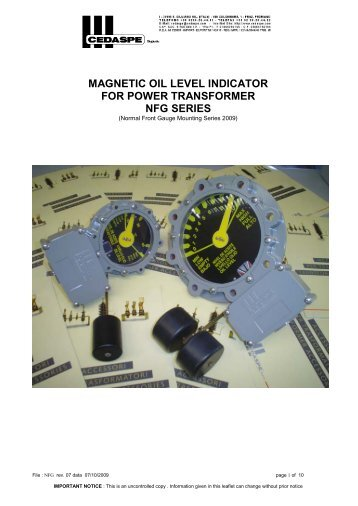 magnetic oil level indicator for power transformer nfg series - Cedaspe