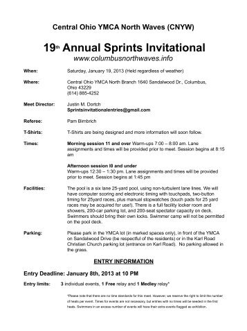 19th Annual Sprints Invitational - YMCA of Central Ohio