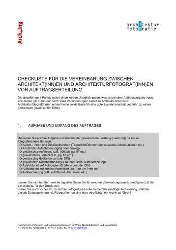 Checkliste Architekturfotografie - Kammer der Architekten und ...
