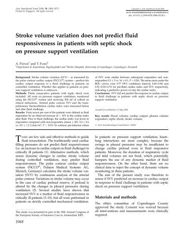 Stroke volume variation does not predict fluid responsiveness in ...