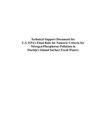Technical Support Document for U.S. EPA's Final Rule for Numeric ...