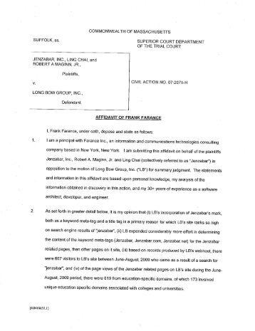 affidavit from Frank Farance - Public Citizen