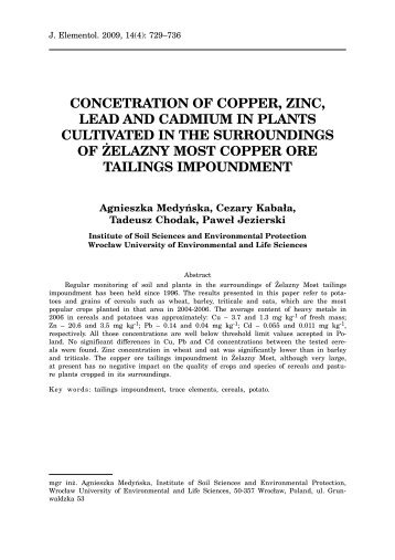 concetration of copper, zinc, lead and cadmium in plants cultivated ...