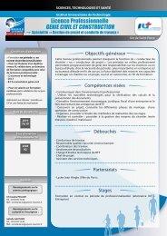 Licence Professionnelle GENIE CIVIL ET CONSTRUCTION