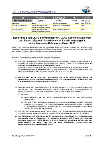 DLRG-Landesverband Württemberg e.V Typ Kennung Sachgebiet ...