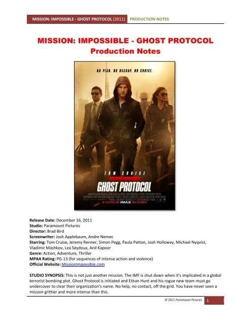 Mission Impossible Ghost Protocol Visual Hollywood