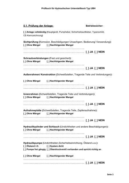 Prüfbuch Für Hydraulisc
